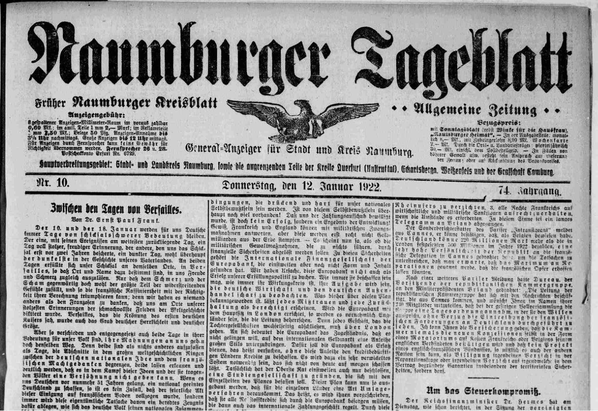 Archiv des Naumburger Tageblatts